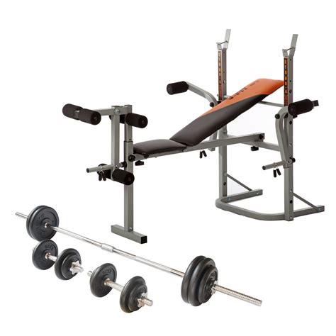 barbell set with bench v fit folding weight bench and viavito 50kg cast iron