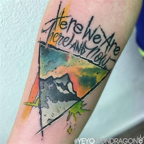 watercolor mountain tattoo watercolor style mountain inside a triangle and