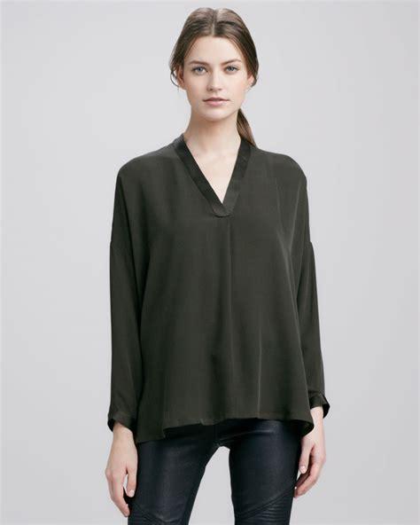 42300 Classic Silk Blouse Blouse Sat khaki silk blouse chevron blouse