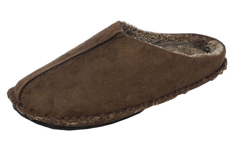 mens slippers wide fit mens dr keller wide fit micro suede mules slippers brown