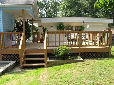 Small Backyard Deck Ideas Maple Deck Ideas For Small Yard Design With Blue Exterior Color And Simple Lawn Lestnic