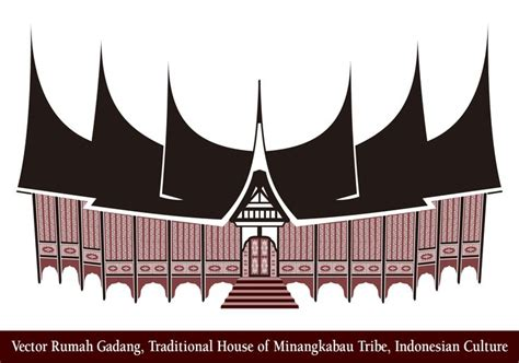vector rumah gadang traditional house  minangkabau