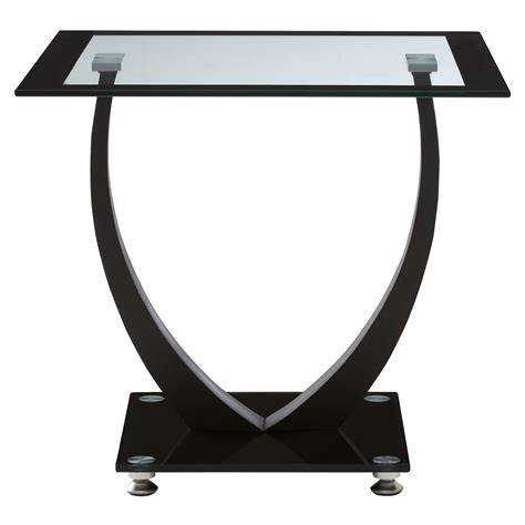 Black Glass Side Table Square Tempered Clear Black Glass Side Table Metal Frame Glass Shelf Modern Ebay