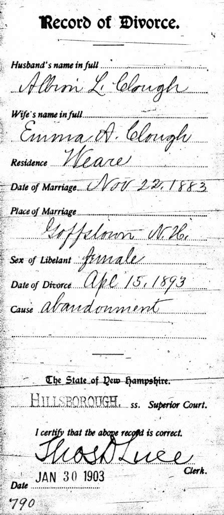 Nh Marriage Records Spotlight Albion Clough World S Chion Hater