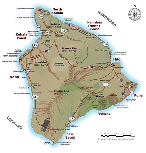 map of big island hawaii big island of hawaii maps