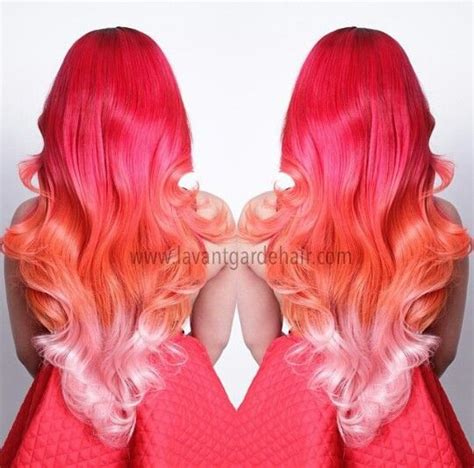 what color does pink and orange make this pink orange ombre hair when my hair is quot mermaid