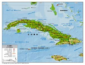 physical map of cuba cuba map with latitude and longitude