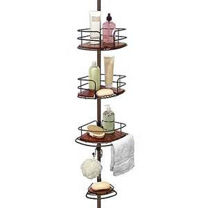 buy tension pole shower corner caddy in teak rubbed