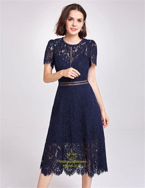 Lace Sleeve Cocktail Dress navy blue sleeve a line tea length lace