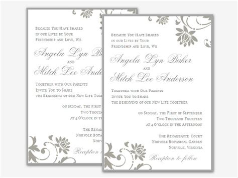invitation templates free word free wedding invitation templates for word 2007