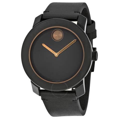 Jam Tangan Pria Movado movado bold black black leather band black stainless