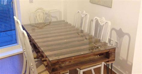 dining room table made of salvage pallet hometalk