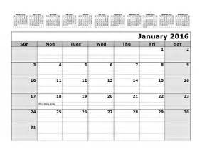 2014 12 Month Calendar Template by 2016 Monthly Calendar Template With 12 Months At Top