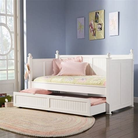 white day beds coaster wood daybed with trundle in white finish 300026