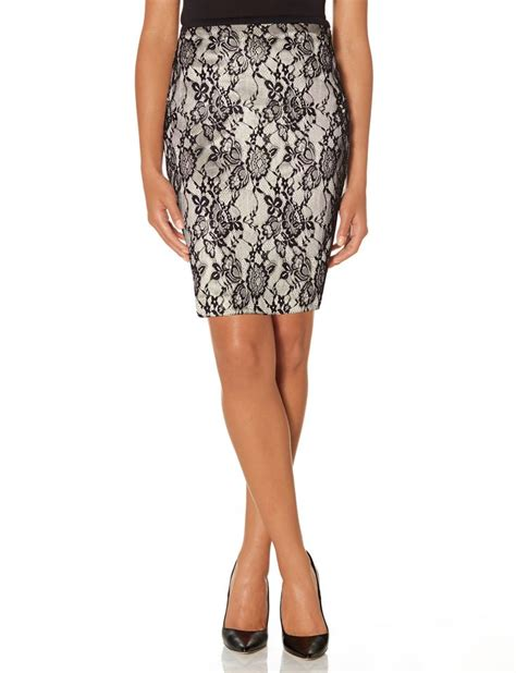 the limited lace overlay pencil skirt black
