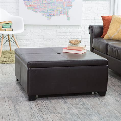 storage ottoman coffee table belham living corbett coffee table storage ottoman square coffee tables at hayneedle