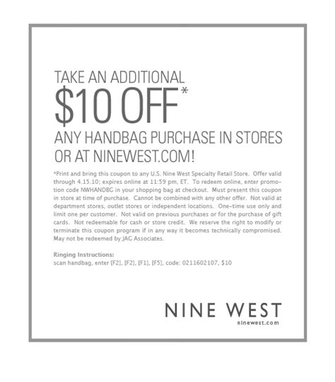 printable nine west outlet coupons 10 off handbags at nine west plus styles marked down by