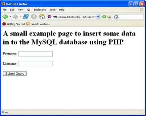 an exle to insert some data in to the mysql database