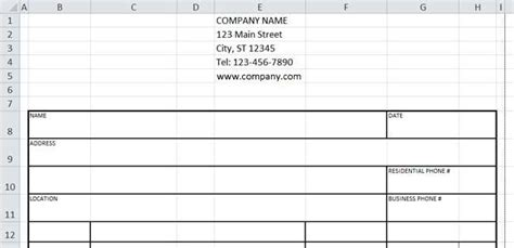 Design An Invoice Form W Excel Customer Information Form Template Excel