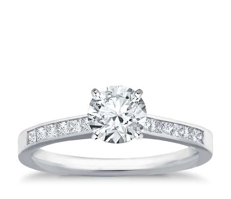 channel set princess cut engagement ring in