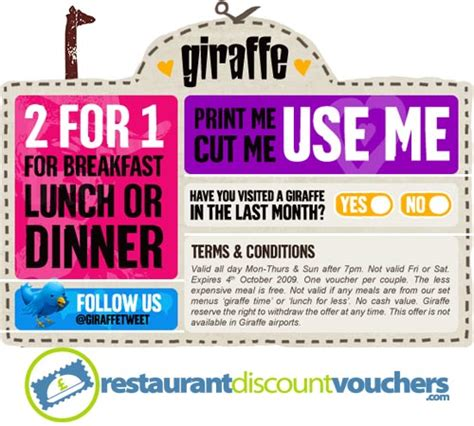 discount vouchers for uk 2 for 1 at giraffe restaurants across the uk