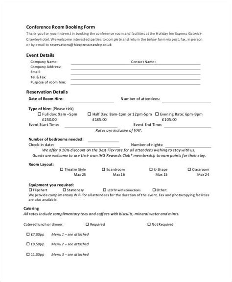 conference room request form template 31 reservation form templates