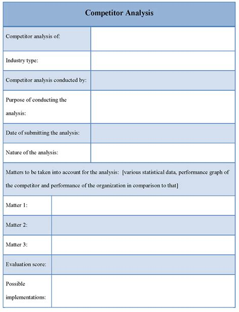 competitive analysis template pin competitive analysis template on