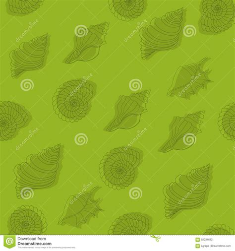 pattern line work seamless green pattern with seashells line work stock