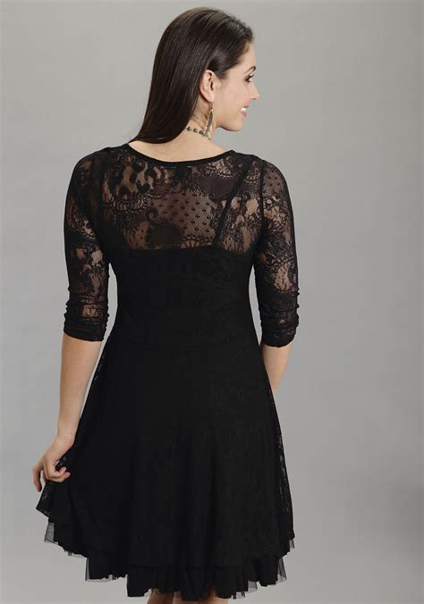 stetson black lace western dress