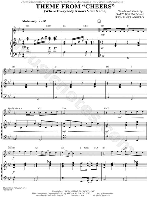 theme song to cheers quot theme from quot cheers quot quot from cheers sheet music piano