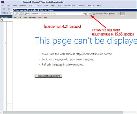 that page can t be c response redirect fails but then works on refresh iis express vs2013 stack overflow