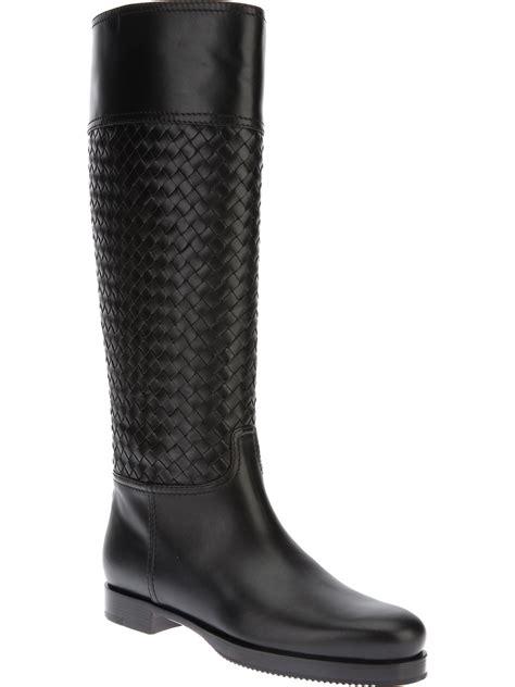 Bottega Venetas Intrecciato Woven Leather Boots by Bottega Veneta Intrecciato Boot In Black Lyst