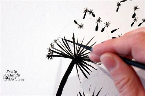 hometalk painted dandelion wall graphic tutorial
