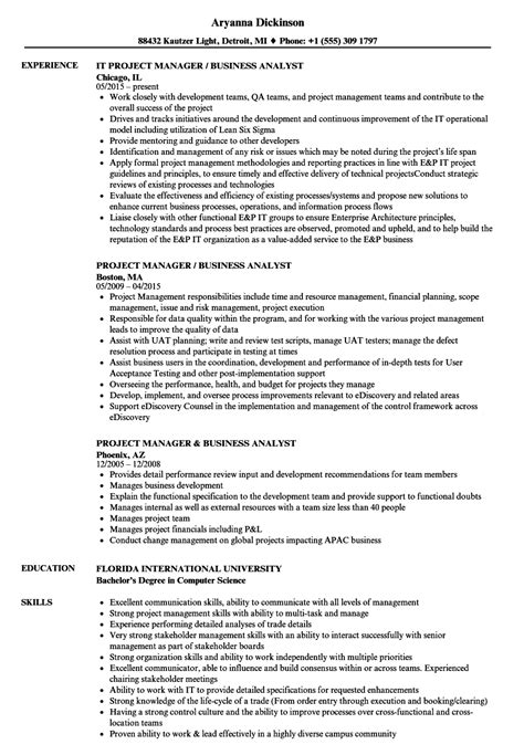 Resume Business Analyst Project Management best resume of a business analyst project manager gallery