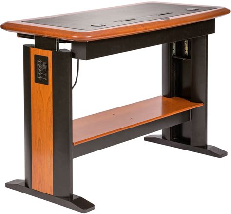 Adjustable Computer Laptop Notebook Table Walnut Colored Variable Height Computer Desk