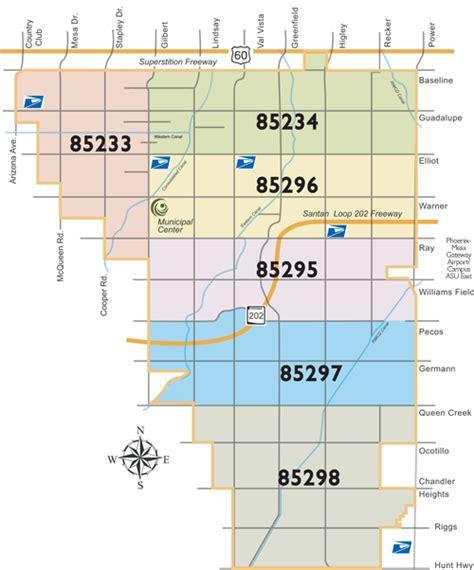 zip code map chandler az gilbert az zip code map zip code map