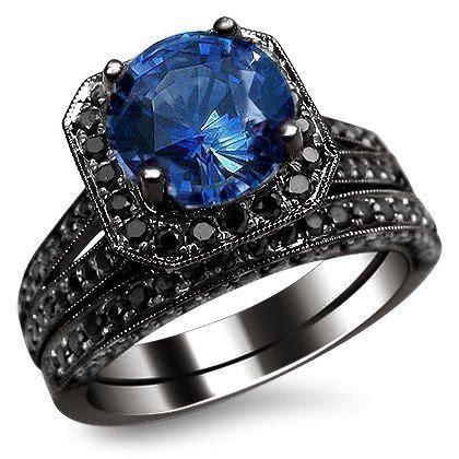 Blue Sapphire 6 15ct 3 15ct blue sapphire ring bridal set 14k