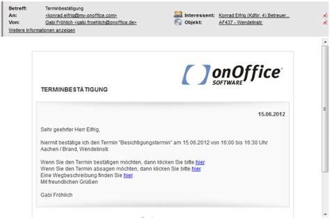 Email Template Vorlage Terminbest 228 Tigung Hilfe Onoffice Smart
