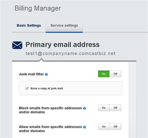 email filter online manage junk email settings comcast business