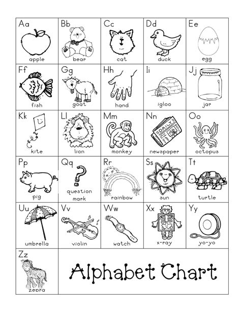 printable kindergarten alphabet chart sharpened pencils post it notes literacy