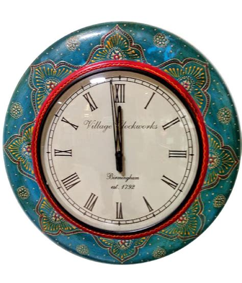 Handcrafted Wooden Clocks - buy samearth craft blue wooden handcrafted clocks best
