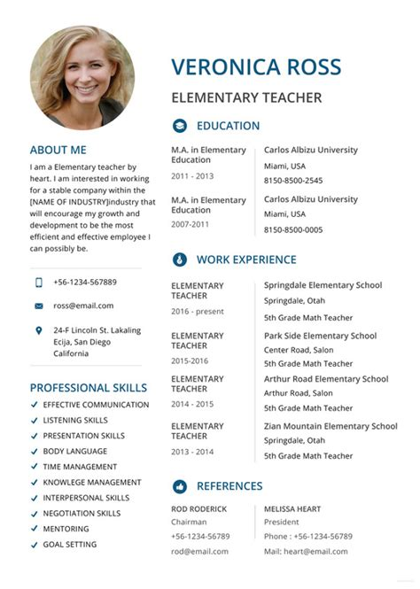 Elementary Resume Template by Resumes 27 Free Word Pdf Documents