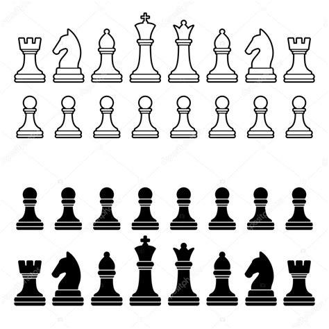 imagenes blanco y negro siluetas silueta de piezas de ajedrez conjunto blanco y negro