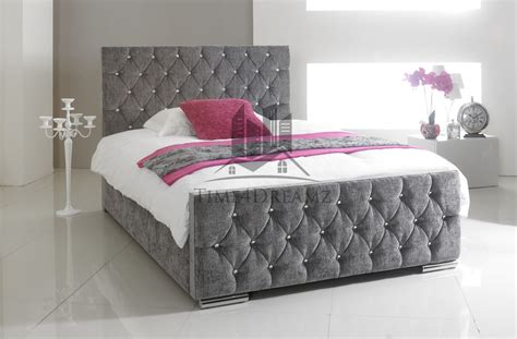 White Bedroom Set King florida chenille fabric grey diamond bed crystals 3ft 4ft6