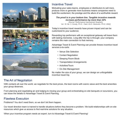 incentive trip planning  advantage travel event planning