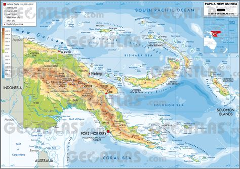 physical map of papua new guinea geoatlas countries papua new guinea map city