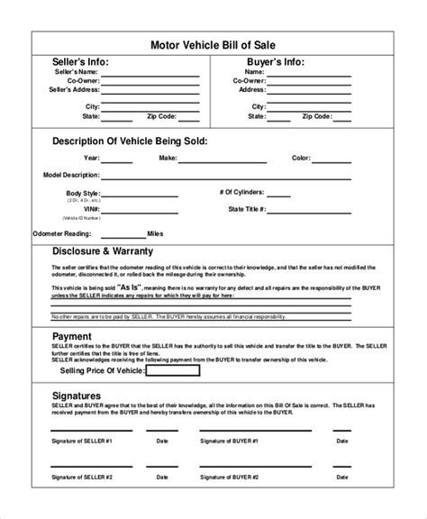 auto bill of sale template world of format