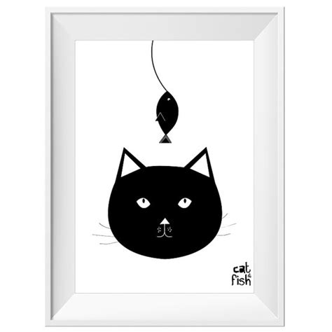 free printable wall art cat items similar to printable cat fish poster black and