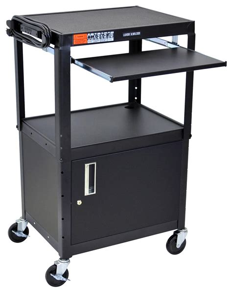 multimedia cart with locking cabinet height adjustable multimedia carts w black finish