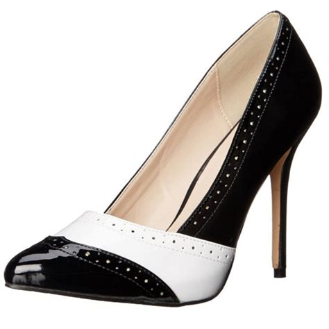 black and white shoes high heels pleaser classic high heel patent womens shoes amuse